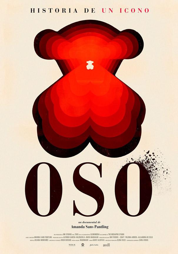 La imagen muestra el cartel del documental Oso sobre Tous, con el icono del oso Tous como elemento central representativo de las Joyas Tous.